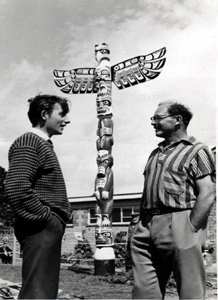 Fig 16: Totem Pole at Little Canada Jack Whitehead right