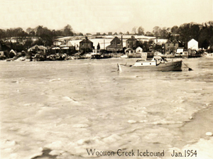 Picture of Wootton Creek Icebound Jan 1955