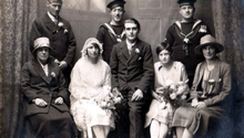 Picture of Evelyn Butt & Ted Dougherty marriage 26th December 1927 sailors behind Ron and Cecil Butt