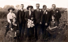 Picture of Hetty and Joes wedding from left Great granny Louisa (Lacey) Butt and Ruby- Ron- Hetty and Joe- Arthur- great grandad Charles Butt and Ena