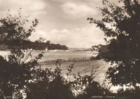 View down the creek to the sea circa 1930