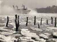 Hovercraft in the creek, note the ice 1962