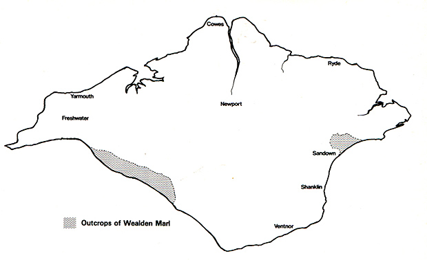 Map of Wealden Outcrops on Isle of Wight
