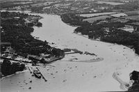 Aerial view Wightlink ferry terminal circa 1985