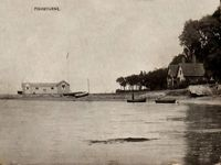 The boathouse and beach circa 1920