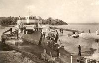 Boarding Fishbourne car ferry 1930s