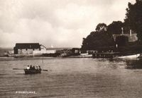 The boathouse and beach circa 1930