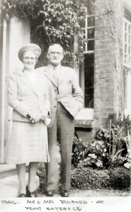 Picture of Mr. and Mrs. Fulford at the front entrance, 1945