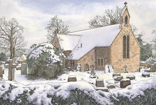 Drawing of St Edmunds Church 2001 by Elizabeth Tucker