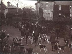 Village Hunt with beagles in High Street circa 1906