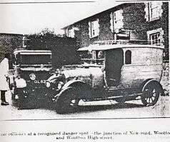Car crash junction New Road and High Street July 1929 [County Press]