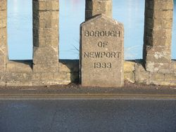 Borough boundary between Newport and Ryde on the bridge 1933