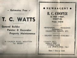 Advertisment T C Watts and B C Cooper circa 1970