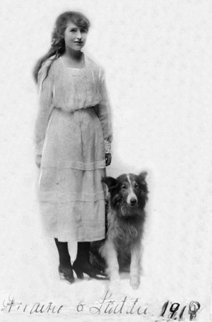 Picture of Lucy May Holt aged 18 with dog Laddie
