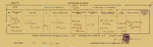 William Edward Souter birth certificate 1872
