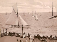 View of yachts at Ryde Pier head c1900