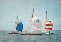 Yachts in the International Dragon Class off Cowes