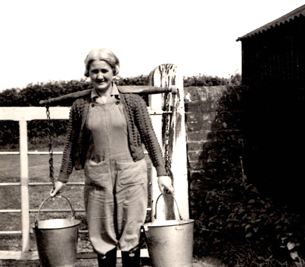 Picture of May Griffin at Briddleford Farm 1940