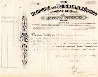 Picture of Duophone Share Certificate