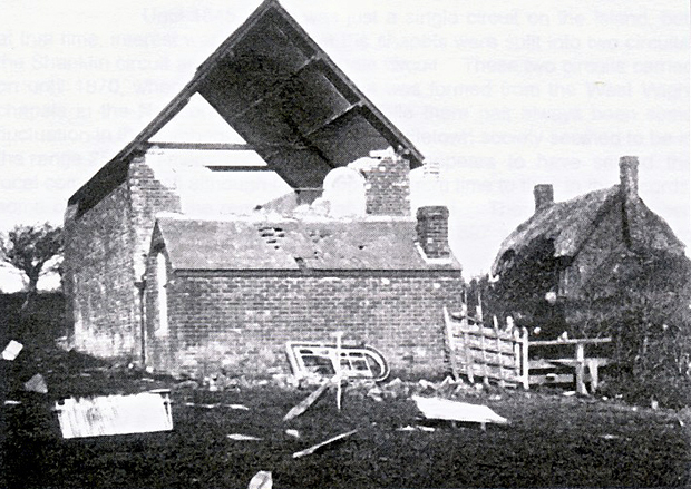 Picture of Storm damage at rear of the Chapel, the Sunday School room