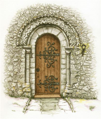 Drawing of St Edmunds Church door by Elizabeth Tucker