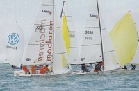 Laser SB3s racing in the Solent